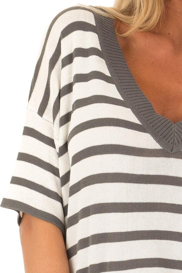 Charcoal and Off White Striped Short Sleeve Sweater detail