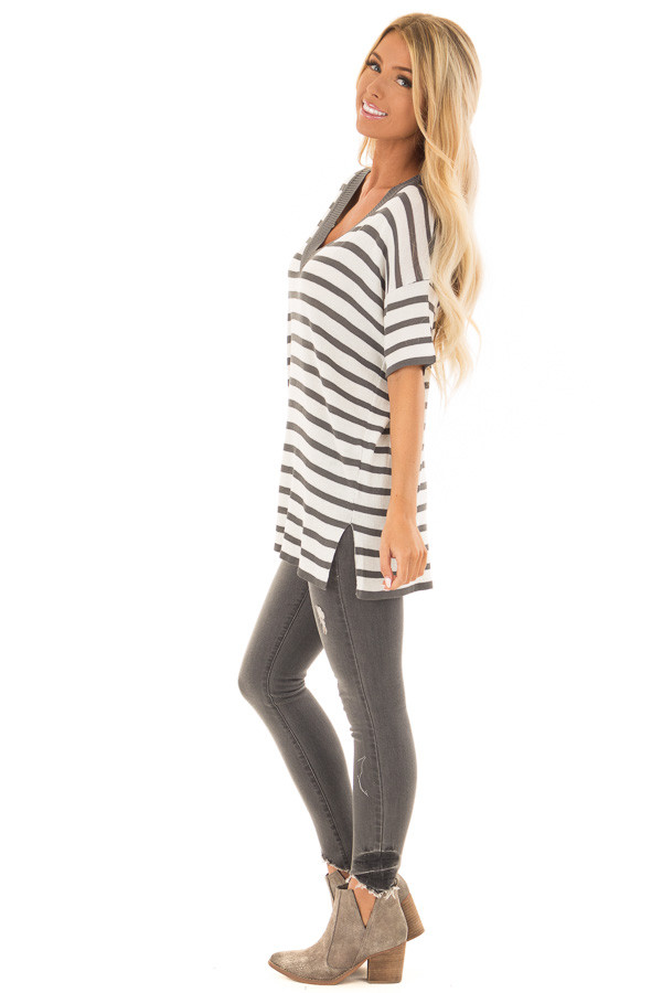 Charcoal and Off White Striped Short Sleeve Sweater side full body