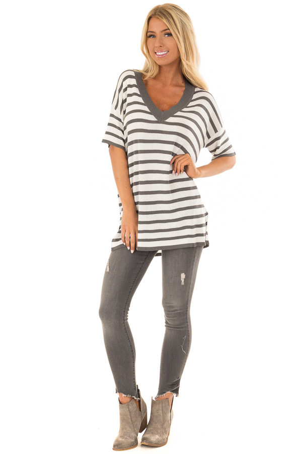Charcoal and Off White Striped Short Sleeve Sweater front full body