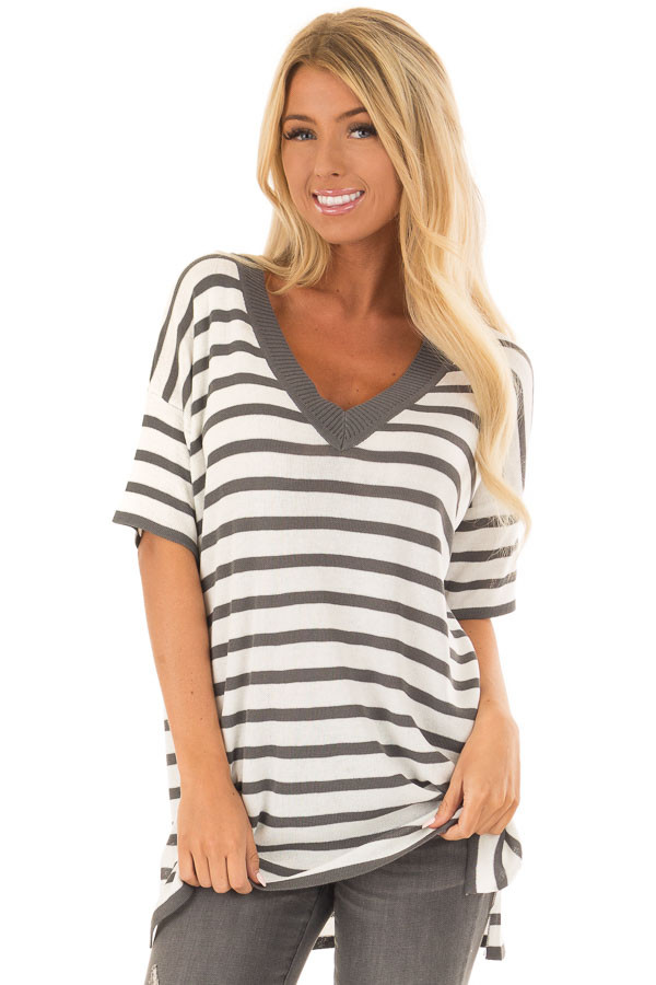 Charcoal and Off White Striped Short Sleeve Sweater front close up
