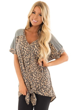 Leopard Print Button Down Top with Stripe Contrast front closeup