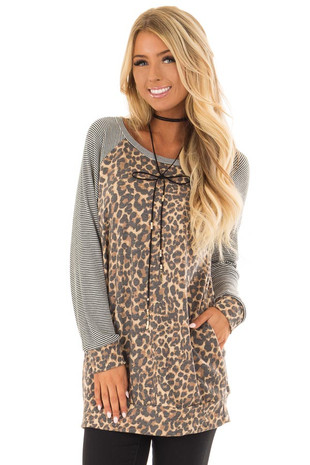 Leopard Print Top with Stripe Raglan Detail and Pockets front closeup