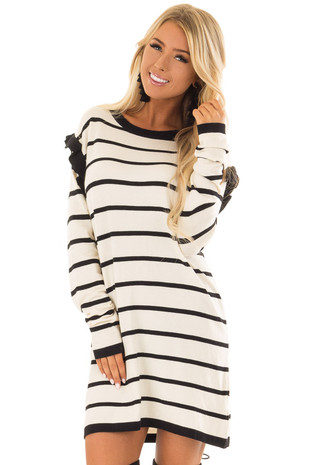Ivory and Black Striped Sweater Dress with Ruffle Detail front closeup