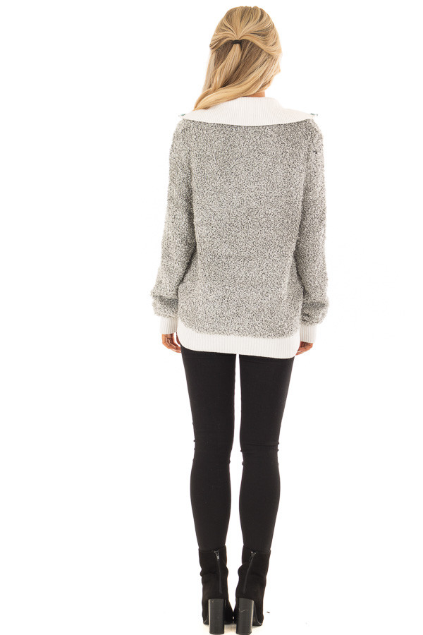 Heather Grey Zipper Front Sweater with Rolled Collar Detail back full body