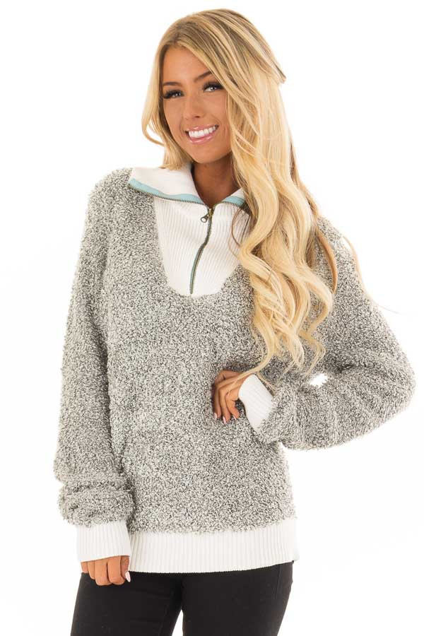 Heather Grey Zipper Front Sweater with Rolled Collar Detail front closeup