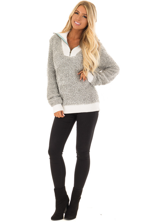 Heather Grey Zipper Front Sweater with Rolled Collar Detail front full body