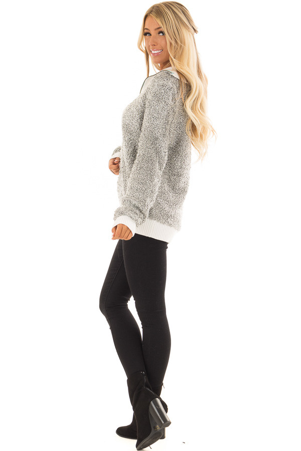 Heather Grey Zipper Front Sweater with Rolled Collar Detail side full body