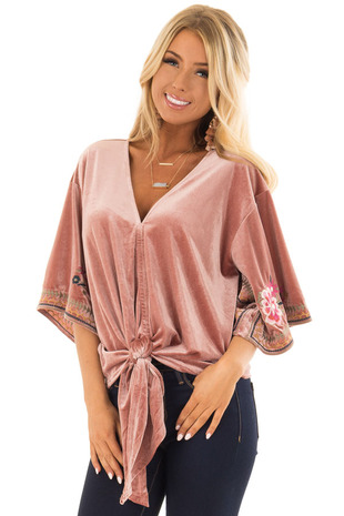 Dusty Rose Velvet Top with Floral Embroidery and Front Tie front closeup