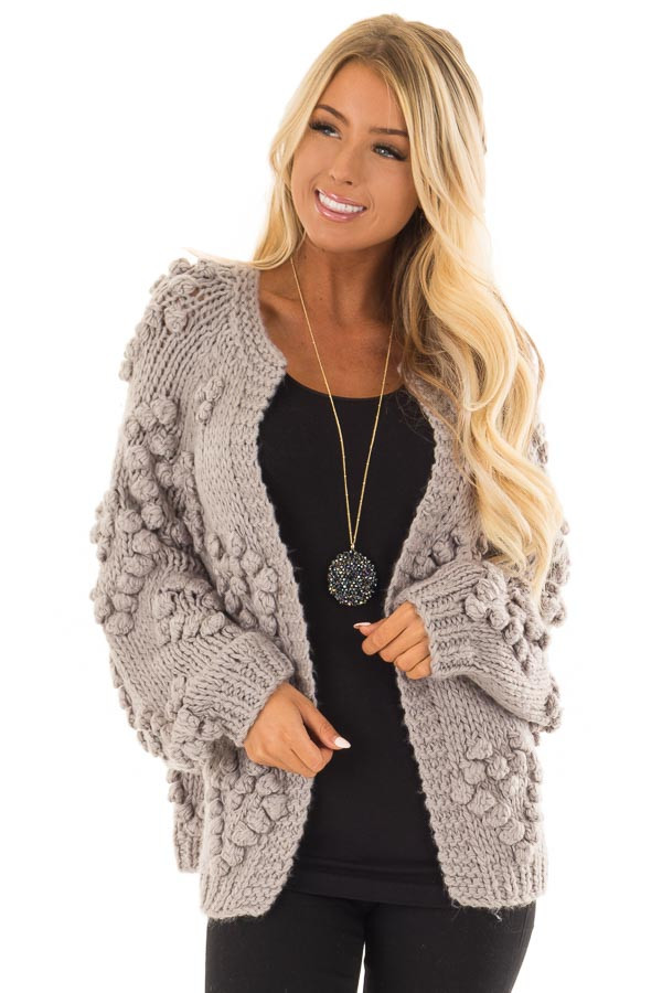 Heather Grey Open Front Cardigan with Pom Pom Detail front closeup