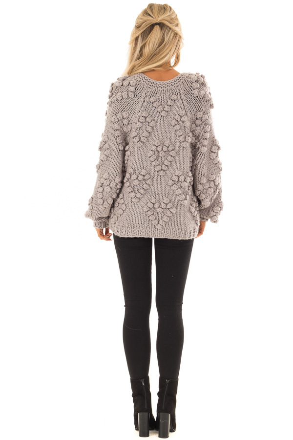 Heather Grey Open Front Cardigan with Pom Pom Detail back full body