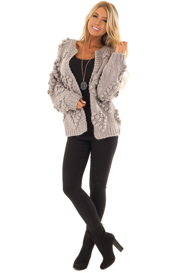 Heather Grey Open Front Cardigan with Pom Pom Detail front full body