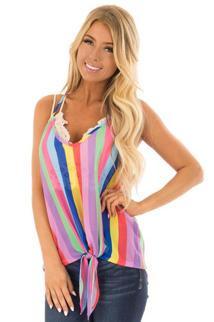 Rainbow Striped Cami Top with Front Tie and Racer Back front closeup