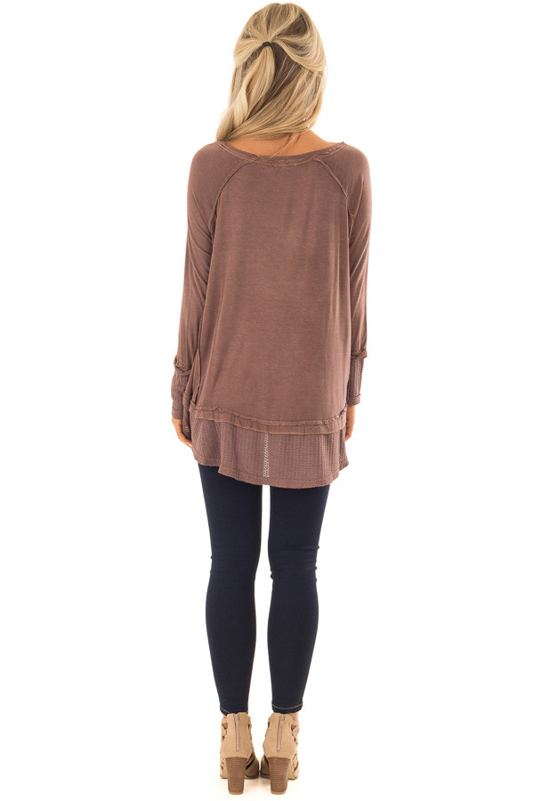 Cordovan Long Sleeve Top with Raw Hem and Waffle Knit Detail back full body