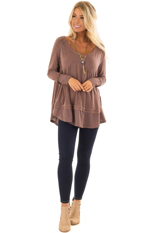 Cordovan Long Sleeve Top with Raw Hem and Waffle Knit Detail front full body