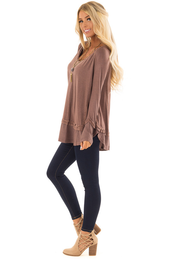 Cordovan Long Sleeve Top with Raw Hem and Waffle Knit Detail side full body