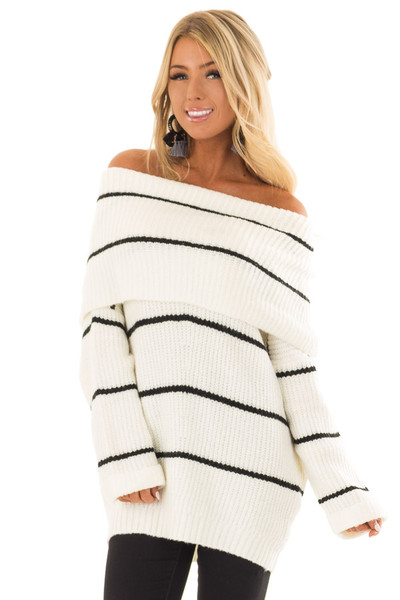 Cream and Black Striped Off the Shoulder Fold Over Sweater front closeup