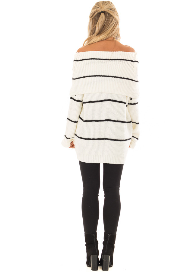 Cream and Black Striped Off the Shoulder Fold Over Sweater back full body