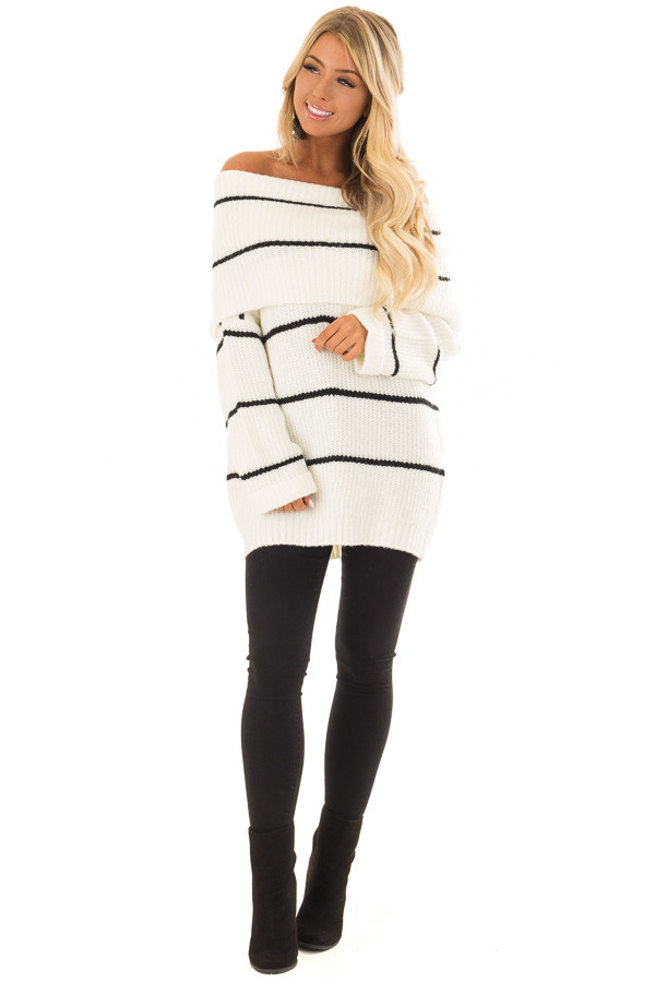Cream and Black Striped Off the Shoulder Fold Over Sweater front full body