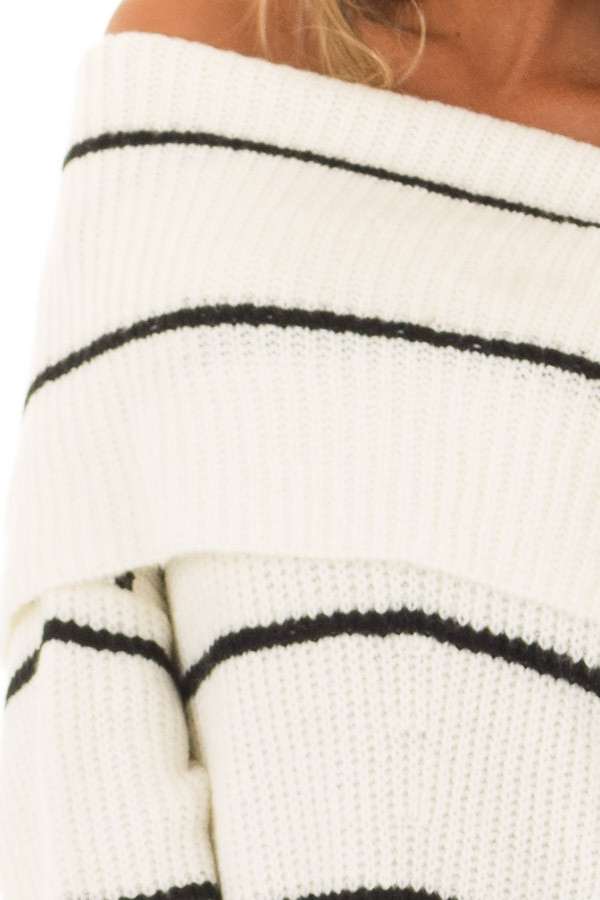 Cream and Black Striped Off the Shoulder Fold Over Sweater front detail