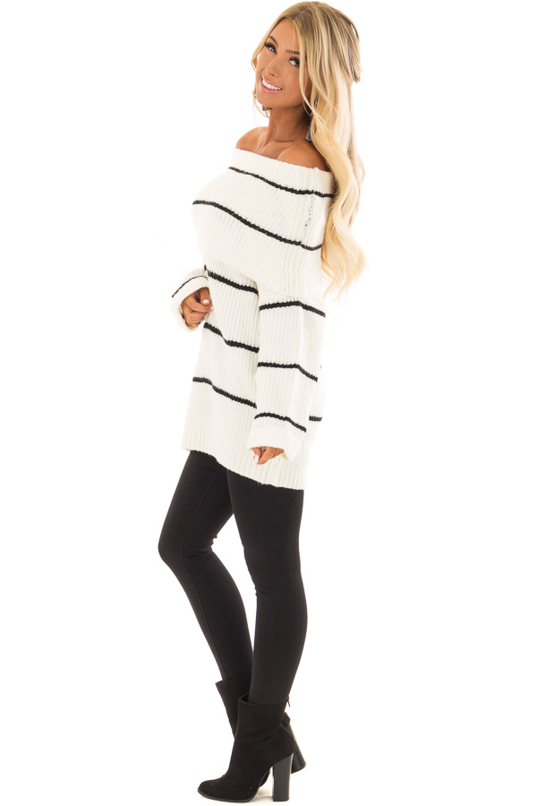 Cream and Black Striped Off the Shoulder Fold Over Sweater side full body
