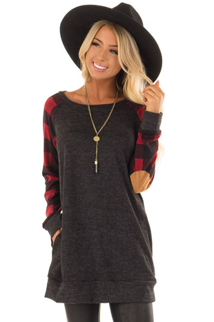 Charcoal Sweater with Plaid Raglan Sleeves and Pockets front closeup