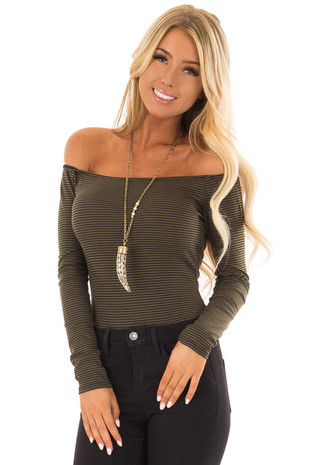 Olive and Black Striped Off the Shoulder Bodysuit front closeup