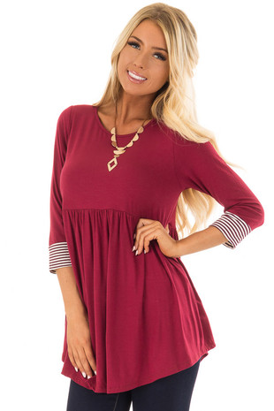 Burgundy Baby Doll Top with Striped Trim Detail front closeup