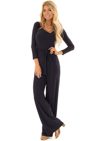 Navy Jumpsuit with Crossover Front and Waist Tie Detail front full body