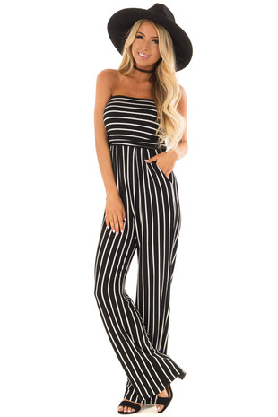 Black and White Striped Sleeveless Jumpsuit front full body