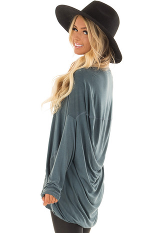 Faded Teal Long Sleeve Draped Tunic side closeup