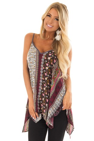Boho Print Tank Top with Back Strap Detail front closeup