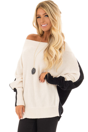 Cream and Onyx Color Block Sweater with Long Dolman Sleeve front closeup