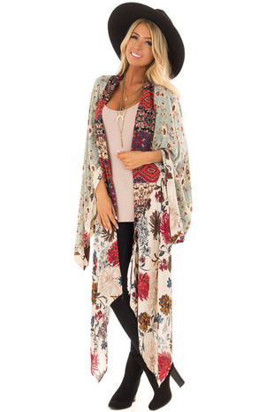 Dusty Blue and Vanilla Long Kimono with Floral Print front full body