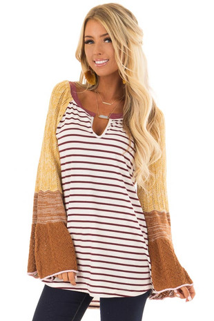 Burgundy and Mustard Striped Top with Knit Bell Sleeves front closeup