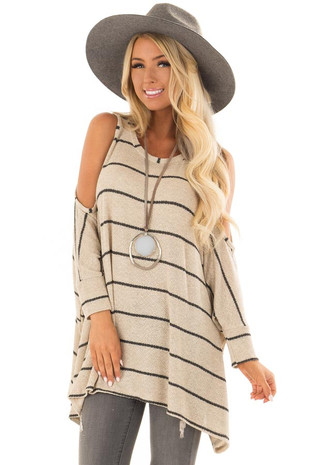 Taupe Striped Cold Shoulder Knit Top with 3/4 Length Sleeves front closeup
