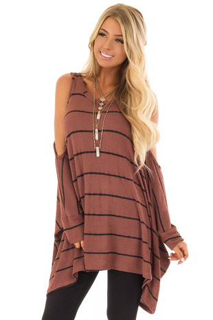 Rust Striped Cold Shoulder Knit Top with 3/4 Length Sleeves front closeup