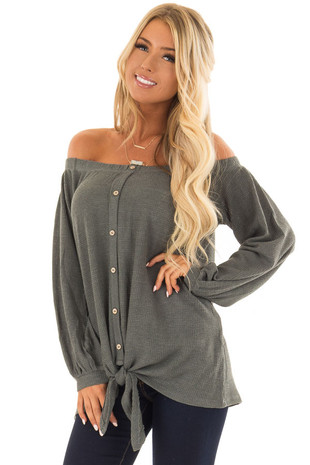 Olive Off the Shoulder Top with Balloon Sleeves and Tie front closeup