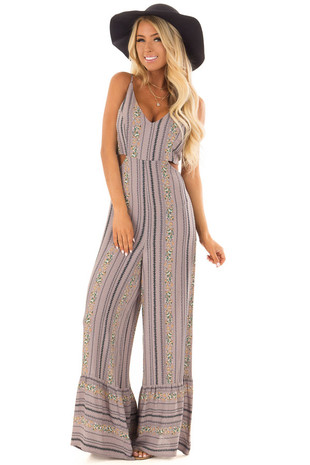 Dusty Lavender V Neck Jumpsuit with Cutout Detail front full body