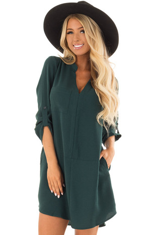 Hunter Green Loose V Neck Dress with Chest Pocket front closeup