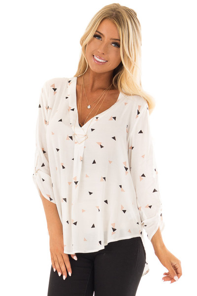 Cream Triangle Print Blouse with 3/4 Length Sleeves front closeup