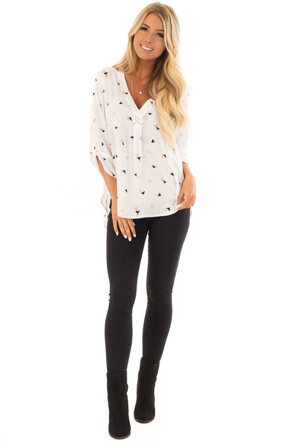 Cream Triangle Print Blouse with 3/4 Length Sleeves front full body