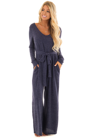 Navy Ribbed Knit Long Sleeve Jumpsuit with Waist Tie front full body