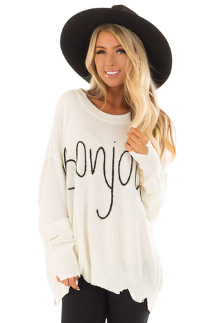 Cream 'Bonjour' Oversized Lightweight Sweater front closeup