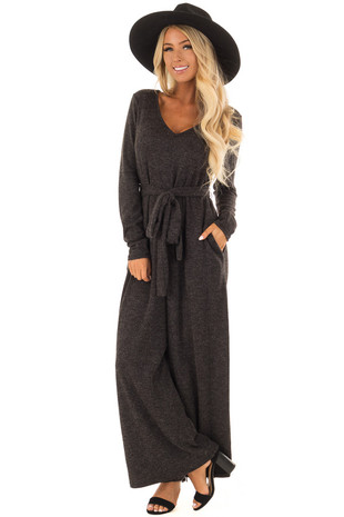 Charcoal Ribbed Knit Long Sleeve Jumpsuit with Waist Tie front full body