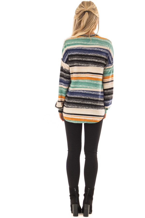 Multi Striped Long Sleeve Top with Front Tie Detail back full body