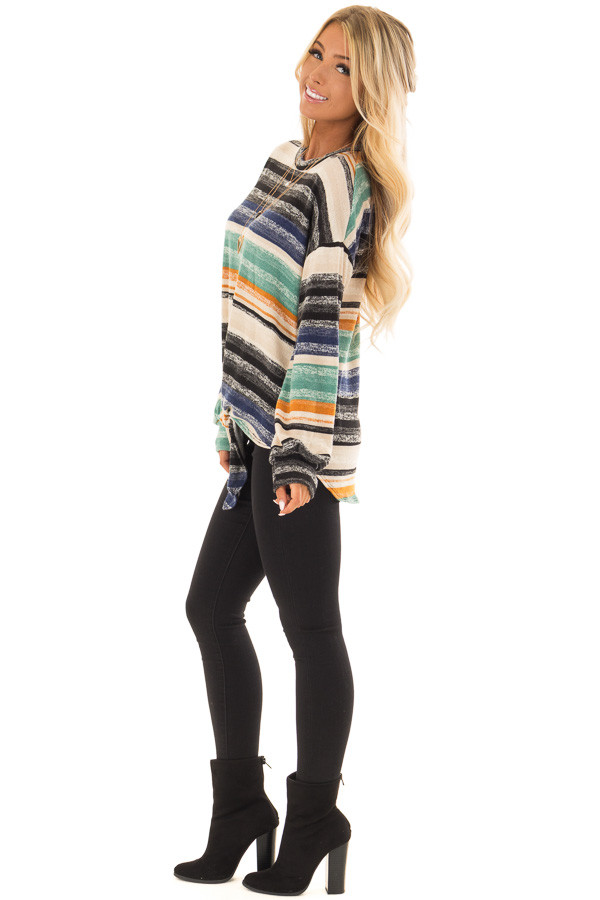 Multi Striped Long Sleeve Top with Front Tie Detail side full body