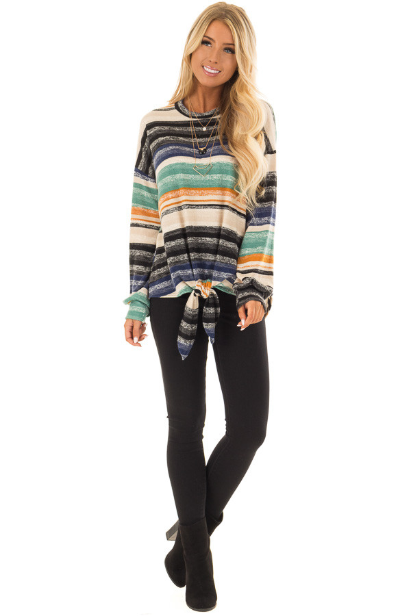 Multi Striped Long Sleeve Top with Front Tie Detail front full body