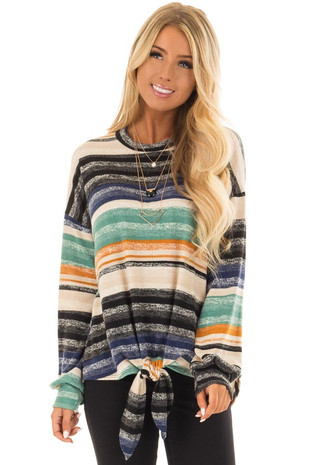 Multi Striped Long Sleeve Top with Front Tie Detail front closeup