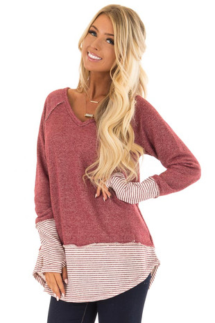 Wine Long Sleeve Top with Pinstripe Contrast and Thumbholes front closeup