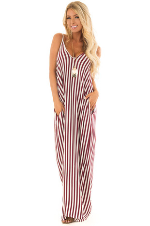Burgundy and Cream Stripe Maxi Dress with Pockets front full body